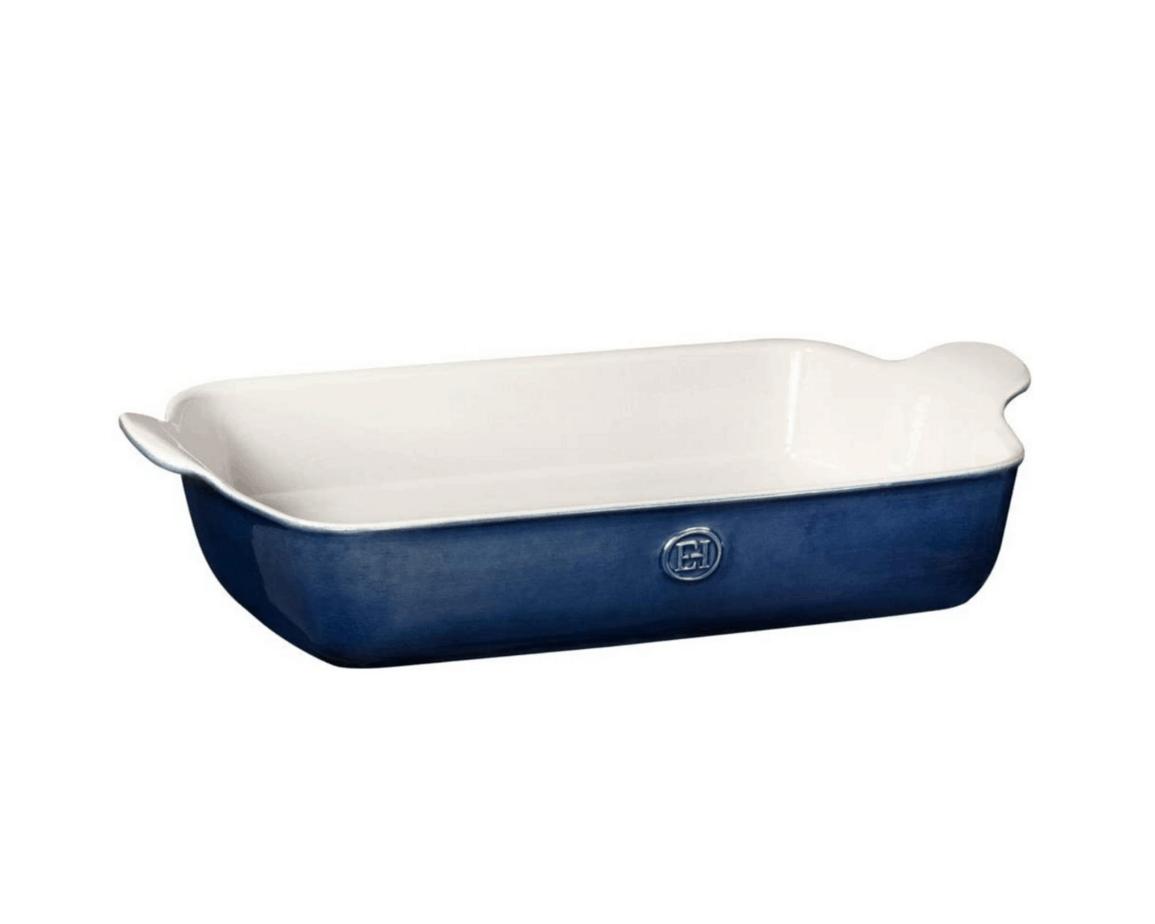 large ceramic baking dish in blue