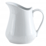 White porcelain creamer for pouring cream or milk