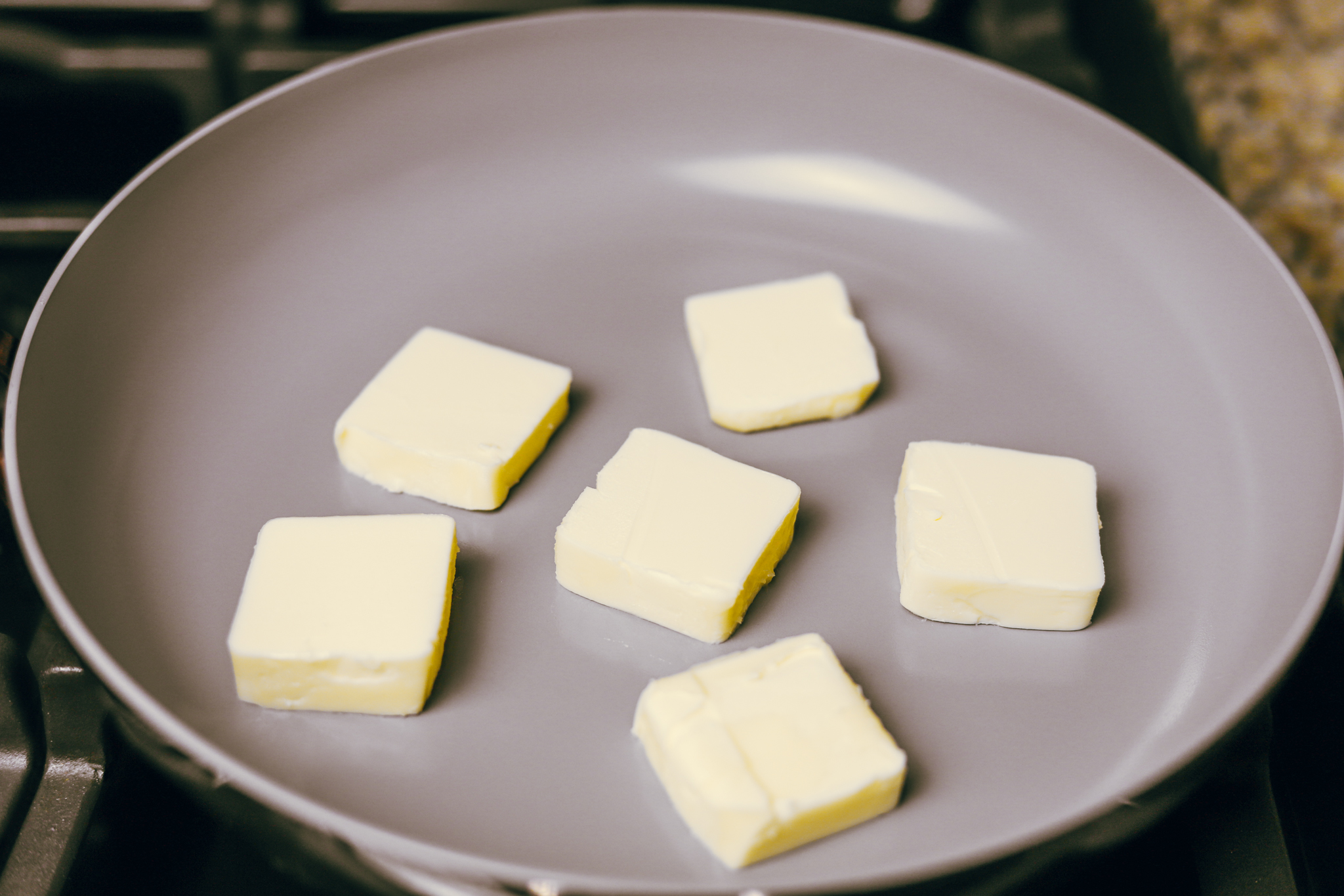 6 tablespoons of butter sliced and placed into a non stick pan